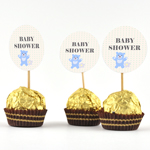 Etiketter, runde 4cm, 24st Baby Shower, Little Family