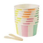 Striped ice cream cups / treat cups med skjeer, 8-pakning
