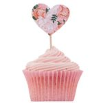 Cup Cake toppers - Blomstrete hjerter