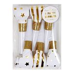 Party Horns - fløyter - Gull & Glitter - 6-pack