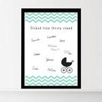 Gjestetavle, Baby Shower, Chevron Divine Mint