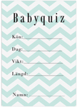 Baby Quiz, 10-pakning, Baby Shower, Chevron Divine Mint