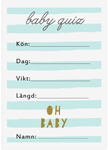 Baby Quiz, 10-pakning, Baby Shower, Stripes Blå